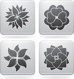 Flowers. Abstract Flowers  Icons Set (part of the Platinum Squared 2D Icons Set Stock Photography