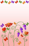 Flowers. In the form of hearts and colorful butterflies. Vector Stock Image
