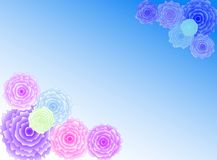Flowers. Colourful flowers in a blue background with a pastel tone royalty free illustration