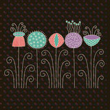 Flowers. Whimsical flowers, greeting card, decor Royalty Free Stock Photo