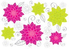 Flowers. Seamless background with flowers and decorative ornaments Stock Photo