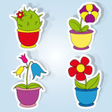 Flowers. Vector set of icons on the flower theme Royalty Free Stock Image