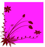 Flowers. Red decorative flowers on a pink background Stock Images