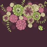 Flowers. Dark background with flowers Stock Illustration
