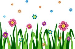 Flowers. Flowerbed with green grass and colorful flowers Stock Photo