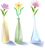 Flowers. Vector illustration for a watercolor still life, 3 bottle of flowers Stock Images