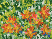 Flowers. Abstract painting of orange flowers Royalty Free Stock Photography