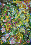 Flowers. Abstract colorful painting with flower ornaments Royalty Free Stock Images