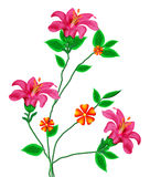 Flowers. Rose pink colour flower with green leafs in isolate background stock illustration