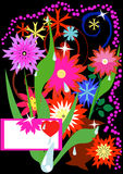 Flowers. Congratulatory card. Bright flowers on a black background Royalty Free Stock Image