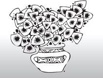 Flowers. Black and white illustration of flowers in a vase royalty free illustration