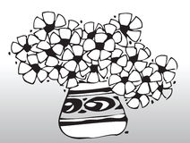 Flowers. Black and white illustration of flowers in a vase vector illustration