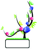 Flowers. Vector Drawing of Plant Motive Accompanied by Real Flowers Stock Photography