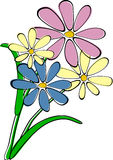 Flowers. Bouquet of four simple flowers royalty free illustration