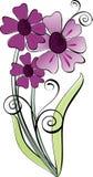 Flowers. Stylish bouquet of violet flowers stock illustration