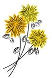 Flowers. Three yellow flowers on white background Stock Image