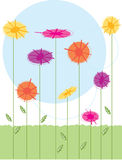 Flowers. Stylized flowers growing in a garden Royalty Free Stock Image