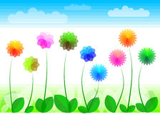 Flowers. Stylized flowers and plants on the white background Royalty Free Stock Image
