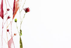 Flowers. Watercolor painting of flowers with copy space Royalty Free Stock Images