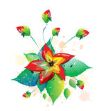 Flower surrounded by flower buds. An illustration of a lush red flower surrounded by flower buds Stock Image