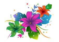 Posy of flowers. Illustration of three lily-like flowers in green, purple and orange (brown) backed by blue and green leaves, white background Stock Photos