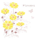 Flowers. Abstract colorful background .with yellow  floral Royalty Free Stock Images