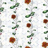 Flowers abstract seamless vector background pattern Royalty Free Stock Image