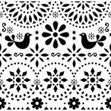 Mexican folk art vector seamless pattern with birds and flowers, black and white fiesta design inspired by traditionaart, Mexico. Flowers and abstract shapes vector illustration