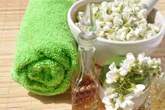 Flowers acacia for spa procedures Royalty Free Stock Images