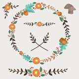 Flowers Acorn And Leaves Forest Illustrated Wreath Design Elements Set. All elements are grouped together logically and easy to edit royalty free illustration