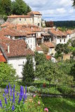 Flowers against charming village in South of France stock photo