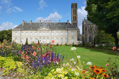 Flowers against the Fine Arts Museum of Limoges Royalty Free Stock Photos