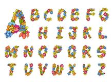 Flowers Alphabet Colored Stock Photo