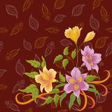 Flowers alstroemeria and leafs contours Royalty Free Stock Photography