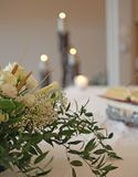 Flowers on an altar in the church Stock Photography