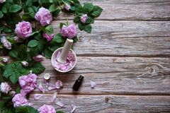 Free Flowers And Leaves Of Rosehip,  Petals In A Mortar With A Pestle And A Bottle Of Essential Oil On A Wooden Background. Royalty Free Stock Photography - 187268747