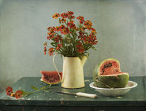 Flowers And Water-melon Royalty Free Stock Photos