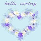 Flowers anemone and hepatica in the shape of a heart with the words Hello spring royalty free illustration