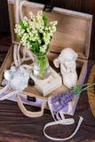 Flowers and angel decor composition Stock Photography