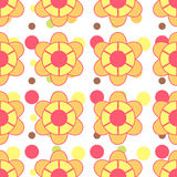 Flowers ans dots pattern Stock Images