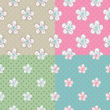 Flowers Apple or cherry,polka dot.Set of seamless  Royalty Free Stock Image