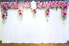 Flowers archway. Of wedding venue Stock Image