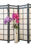Flowers Arhidea. Purple and pink orchid flowers on a background of the screen in the interior. interior Design Royalty Free Stock Photography