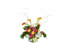 Flowers arrangment 5. Arrangment of exotic flowers in glass vase Royalty Free Stock Images