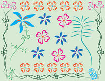 Flowers art patterns. Flower beautiful patterns and make with a programs illustrations Royalty Free Stock Photography