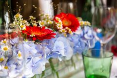 Flowers as decoration on a table Royalty Free Stock Photos