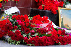 Flowers as a sign of mourning for the dead Stock Photo
