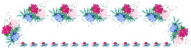 Flowers asters horizontal banner arch. Horizontal banner - arch of flowers of pink, blue and white asters and green leaves, and curly stems, insulated decor vector illustration