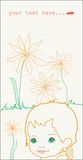 Flowers baby. Baby with flowers greeting card Stock Images