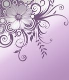 Flowers background. Flowers corner on nice silver and violet background Royalty Free Stock Images